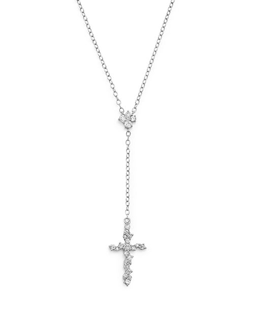 Bloomingdale's - Diamond Cross Y Necklace in 14K White Gold, .35 ct. t.w. - 100% Exclusive