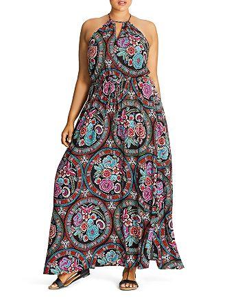 City Chic Plus - Folklore Floral Print Maxi Dress
