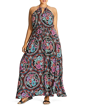City Chic Folklore Floral Print Maxi Dress