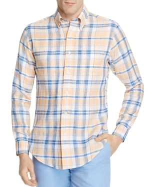 Brooks Brothers Regent Linen Plaid Slim Fit Button-Down Shirt