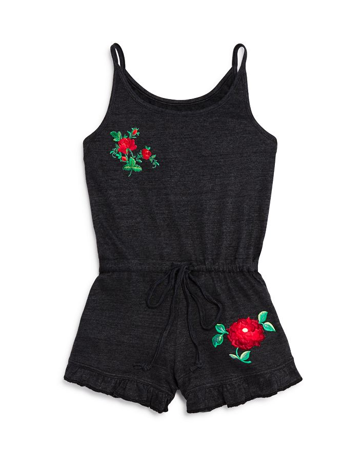 So Nikki... - Girls' Embroidered Rose Romper - Big Kid