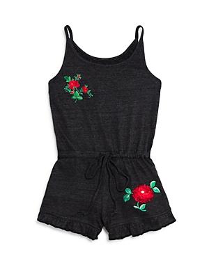 So Nikki Girls Embroidered Rose Romper  Big Kid