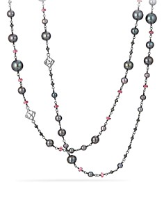 David Yurman - Bijoux Bead Link Dyed Gray Cultured Freshwater Pearl Necklace with Hematine and Rhodolite Garnet