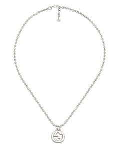 Gucci - Sterling Silver Interlocking G Pendant Necklace, 15""