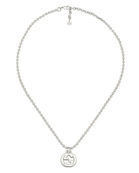 "Gucci - Sterling Silver Interlocking G Pendant Necklace, 15"""