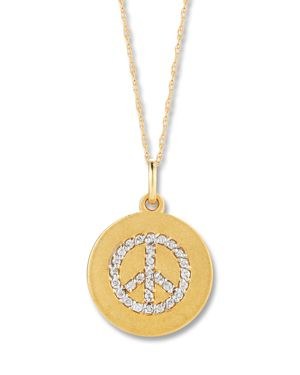 Diamond Peace Sign Pendant Necklace in 14K Yellow Gold, .15 ct. t.w.