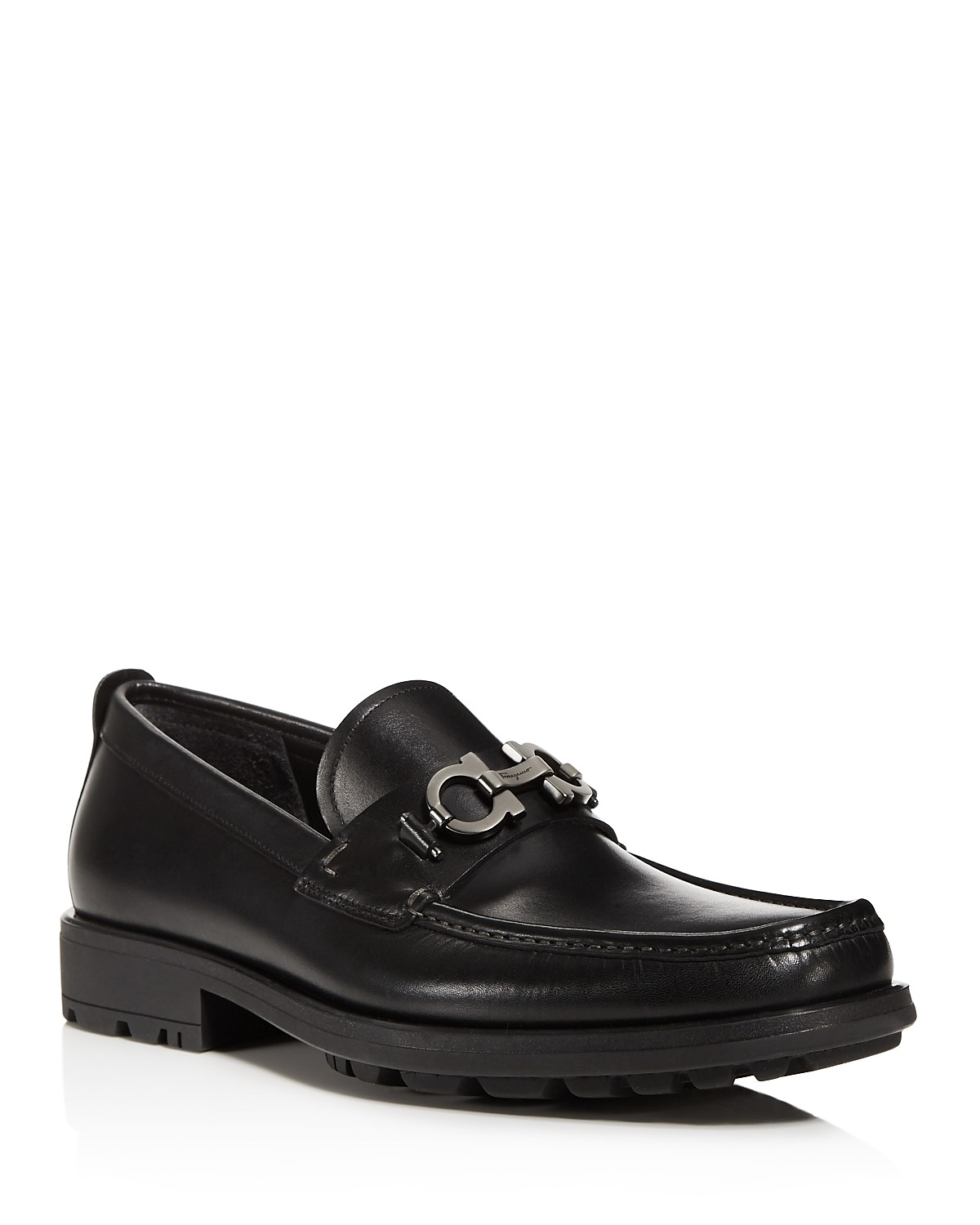 Salvatore FerragamoMen's David Double Gancini Bit Thick Lug Leather Loafers YnTjMTrbp