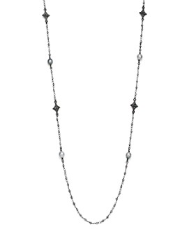 """Armenta - Blackened Sterling Silver Old World Midnight Tahitian Pearl, Champagne Diamond and Tourmaline Beaded Cravelli Station Necklace, 39"""""""