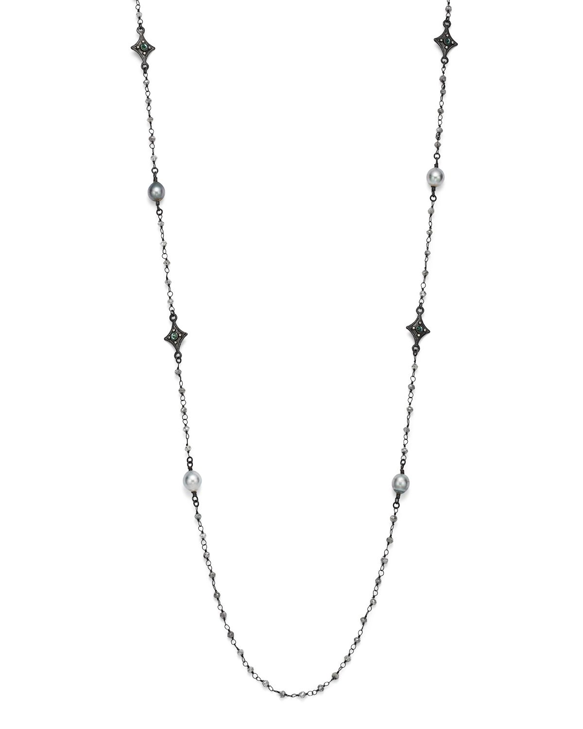 Armenta Old World Tahitian Pearl Station Necklace with Champagne Diamonds, 39