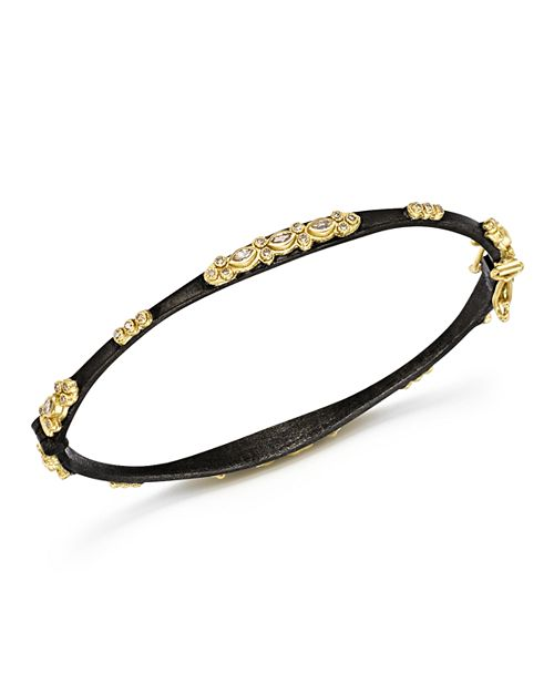 Armenta - 18K Yellow Gold and Blackened Sterling Silver Old World Diamond and White Sapphire Bracelet