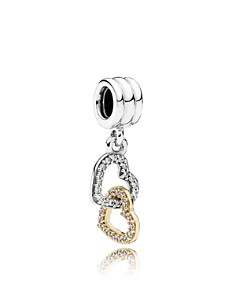 PANDORA Sterling Silver & Cubic Zirconia Interlocked Hearts Charm - Bloomingdale's_0