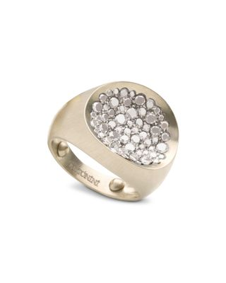 ANTONINI MATTE 18K WHITE GOLD MATERA SMALL PAVE SILVERMIST DIAMOND RING