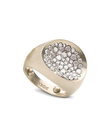 Antonini - Matte 18K White Gold Matera Small Pavé Silvermist Diamond Ring