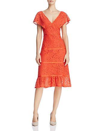 nanette Nanette Lepore - Flutter-Sleeve Lace Dress