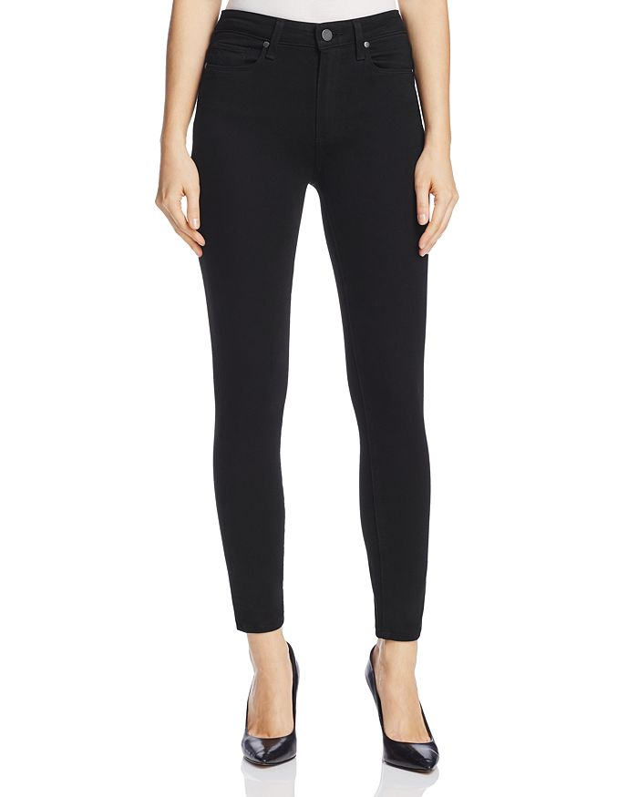 PAIGE - Hoxton Ankle Skinny Jeans in Black Shadow - 100% Exclusive