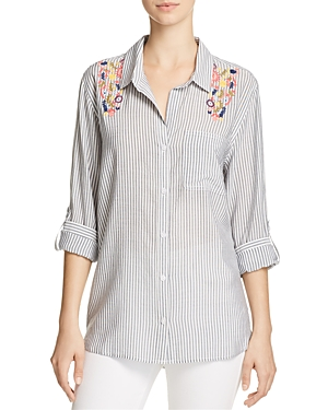 Aqua Striped & Embroidered Shirt - 100% Exclusive