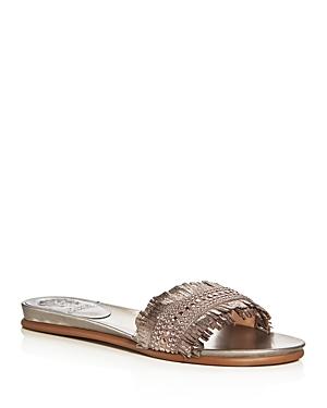 Vince Camuto Ettina Metallic Fringe Slide Sandals