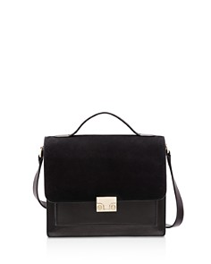 Loeffler Randall - Minimal Rider Suede and Leather Satchel