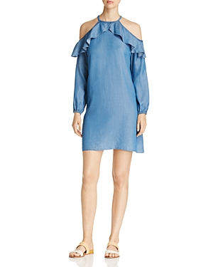 Michael Michael Kors Chambray Cold Shoulder Ruffle Dress