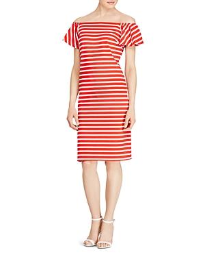 Lauren Ralph Lauren Stripe Ruffle Sleeve Shift Dress