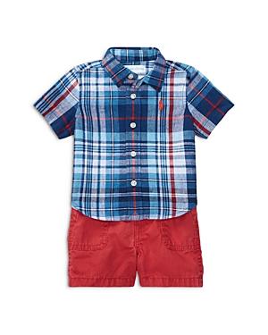 Ralph Lauren Childrenswear Boys Plaid Shirt Shorts  Belt Set  Baby