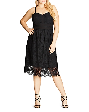 City Chic Lush Lace Fit-and-Flare Dress