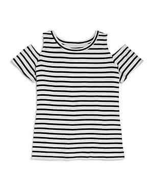 Aqua Girls' Striped Cold Shoulder Top, Big Kid - 100% Exclusive