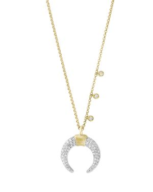 Diamond Crescent Pendant Necklace in 14K White and Yellow Gold, .25 ct. t.w. - 100% Exclusive