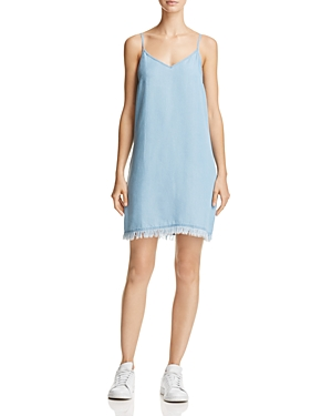 Splendid Fringe-Hem Chambray Slip Dress