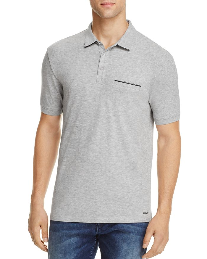 HUGO - Dolorino Leather Trim Slim Fit Polo Shirt