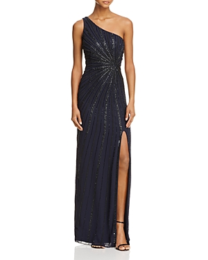 Adrianna Papell Beaded Starburst One-Shoulder Gown