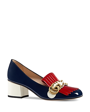 Gucci Marmont Embellished Mid Heel Loafers