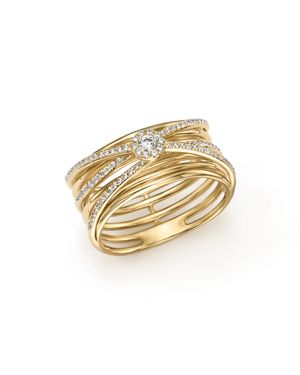 Diamond Multi-Row Crossover Band in 14K Yellow Gold, .30 ct. t.w. - 100% Exclusive