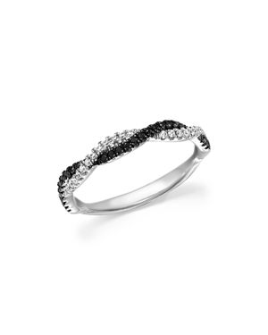 White and Black Diamond Braided Band in 14K White Gold - 100% Exclusive