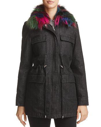 Jocelyn - Rabbit Fur & Fox Fur Trim Denim Jacket - 100% Exclusive
