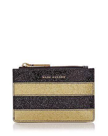 MARC JACOBS - Glitter Stripe Top Zip Leather Wallet