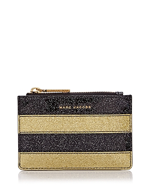 Marc Jacobs Glitter Stripe Top Zip Leather Wallet