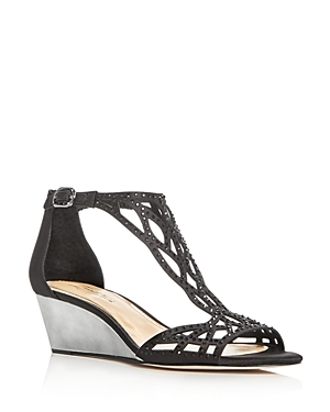 Imagine Vince Camuto Jalen Embellished Satin Wedge Sandals