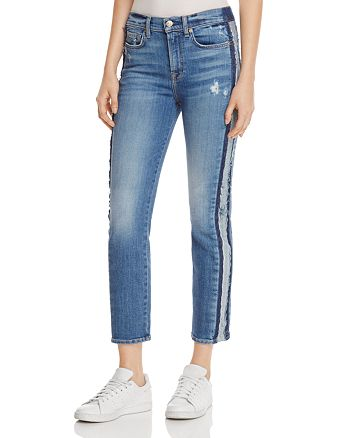 7 For All Mankind - Edie Stripe Straight Leg Jeans in Bright Houston - 100%  Exclusive