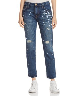 Current/Elliott The Fling Faux Pearl Jeans in Loved Destroy, $328.0