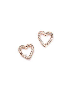 Diamond Heart Stud Earrings in 14K Rose Gold, .20 ct. t.w- 100% Exclusive