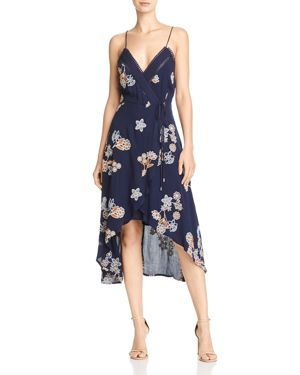 Joa Floral-Embroidered High/Low Midi Dress