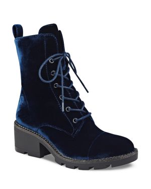 Kendall and Kylie Park Velvet Lace Up Combat Boots