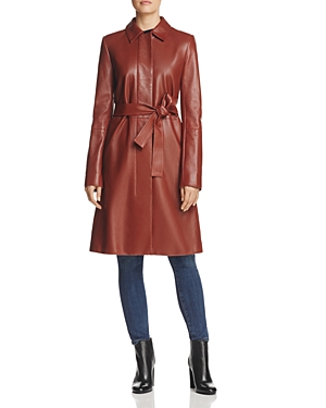 Theory Wilmore Leather Trench Coat