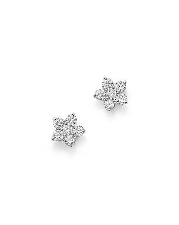 Bloomingdale's - Diamond Flower Small Stud Earrings in 14K White Gold, .70 ct. t.w. - 100% Exclusive