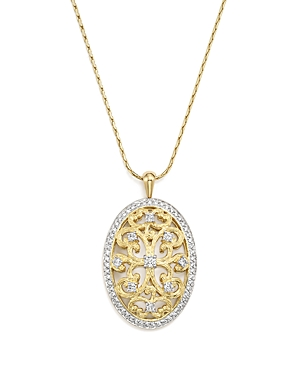 Diamond Antique-Inspired Oval Pendant Necklace in 14K Yellow Gold, 1.0 ct. t.w. - 100% Exclusive