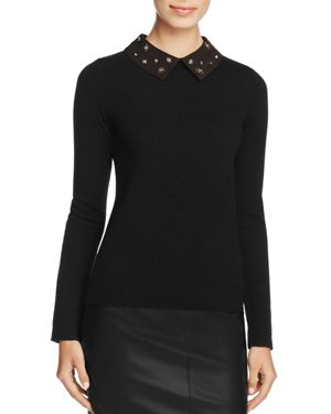 C by Bloomingdale's Cashmere Embellished-Collar Sweater - 100% Exclusive
