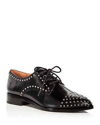 Frye - Women's Erica Stud Embellished Leather Lace Up Oxfords