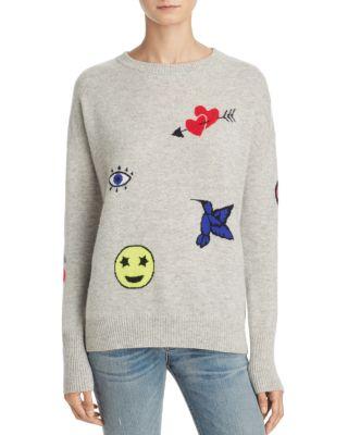 AQUA Cashmere Patch Emoji Intarsia Sweater - 100% Exclusive in Combo