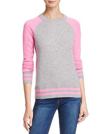 AQUA - Cashmere Baseball Crewneck Sweater - 100% Exclusive